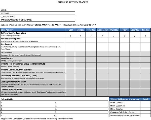 business activity tracker